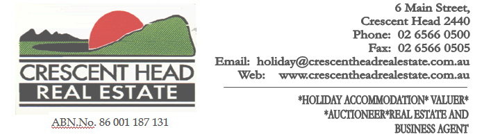 Crescent Head Holiday Rentals Terms and Conditions